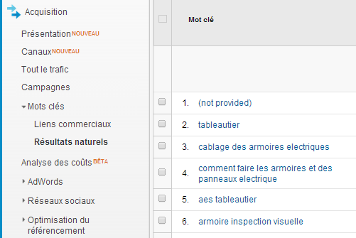 C'est quoi le Not Provided dans Google Analytics ?